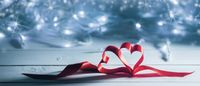Valentines day ribbon hearts