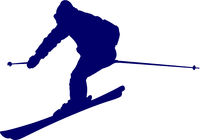 Blue silhouette of a skier descending the mountain slope