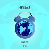 Earth and alarm clock on map background
