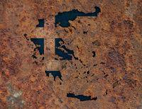 Karte von Griechenland auf Textur - Textured map of Greece
