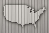 Karte der USA auf Wellblech - Map of the USA on corrugated iron