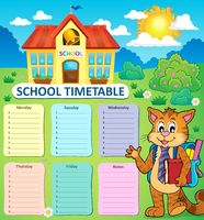 Weekly school timetable concept 2 - picture illustration.