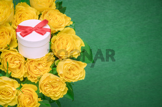 Roses bouquet and a gift box