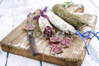 Salami on Cutting Board