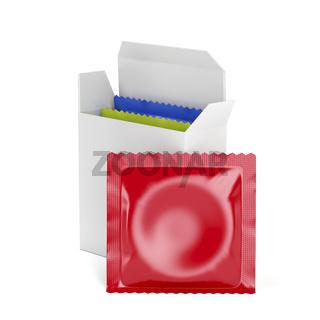Condoms on white