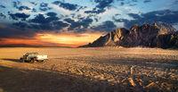 Sandy field in desert of Egypt