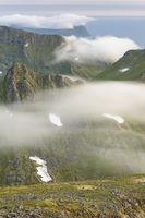 Foggy mood in the mountains, Flakstadsoeya, Lofoten, Norway