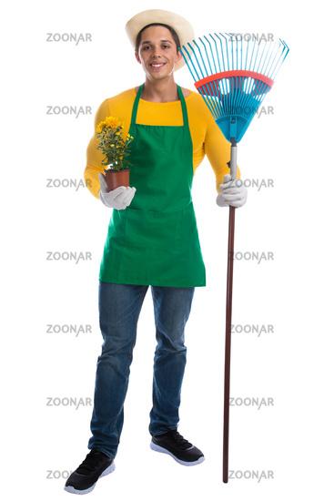 Gärtner Garten Gartenarbeit Beruf Rechen Ganzkörper stehen Blume Freisteller