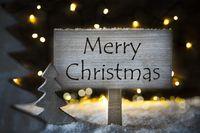 White Tree, Text Merry Christmas