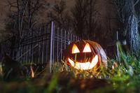 Halloween pumpkin at cemetery