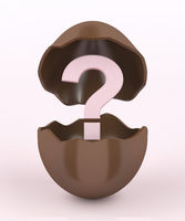 Broken chocolate egg and question mark