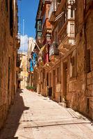 A typical small street (Saint Dominic) of Birgu, Malta