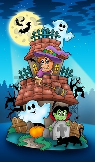 House with Halloween characters - color illustration.