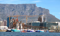 Table Mountain, view from the ocean, Cape Town, South Africa