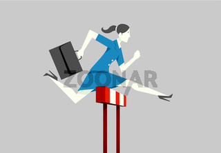 Businesswoman running hurdle.