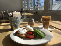 Poached eggs avocado and char-grilled tomato with latte at cafe