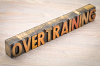 overtraining word abstract in wood type