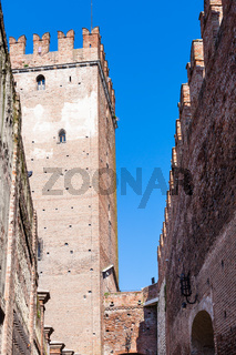 tower and walls of Castelvecchio (Scaliger) Castel