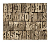 letters and numbers in vintage wood type