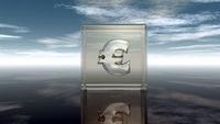 glaswürfel mit eurozeichen unter wolkenhimmel - 3d illustration