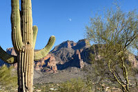 the Superstition Mountains seen from Apache Junction, Arizona, with a daytime moon.