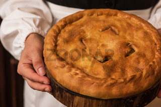 Pie from potato meat cheese and vegetables