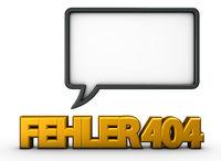 fehler 404 und sprechblase - 3d rendering
