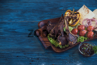 Grilled lamb meat
