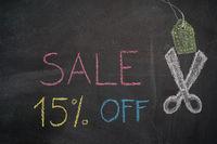 Sale 15% off on chalkboard