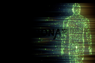 Binary man made of zeros and ones in computing concept