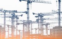 many construction cranes  - construction site