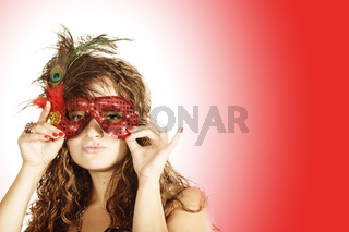 Curly woman in red mask