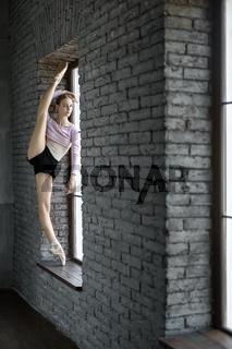 Ballerina posing in studio