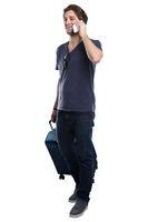 Junger Mann Telefon telefonieren Handy Reise reisen verreisen Urlaub Freisteller