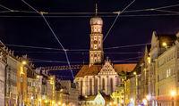 Basilica Saint Ulrich in Augsburg at night