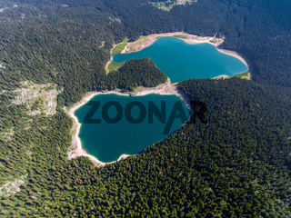 Aerial view of Black Lake in Montenegro