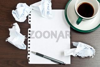Pencil, coffee, paper