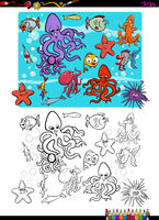 sea life group coloring page