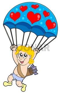 Parachute cupid - isolated illustration.