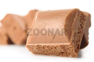 porous chocolate bars isolated on white
