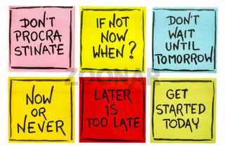 fighting procrastination - set of motivational notes