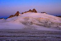 Morning sun at the Plateau du Trient, peaks Aiguille Purtscheller, Aiguilles du Tour, Valais,