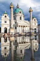 Long exposure of beautiful Karlskirche church in Vienna Austria