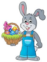 Bunny holding Easter basket theme 1