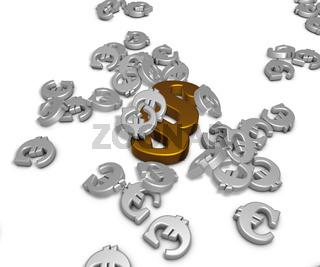 viele Eurosymbole und ein Paragraphensymbol auf weißem Hintergrund - 3d rendering
