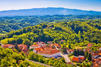 Picturesque town of Klanjec aerial view and Medvednica mountain horizon
