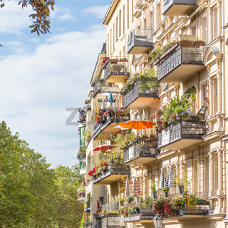 Traditional European Balcony with colorful flowers and flowerpots.
