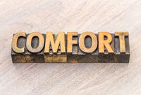 comfort word abstract in wood type