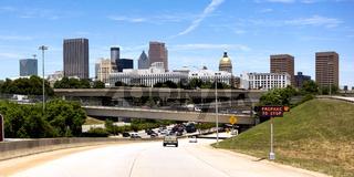 Car Entering Highway Rush Hour Downtown Atlanta Georgia City Skyline