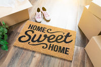 Home Sweet Home Welcome Mat, Moving Boxes, Pink Shoes and Plant on Hard Wood Floors